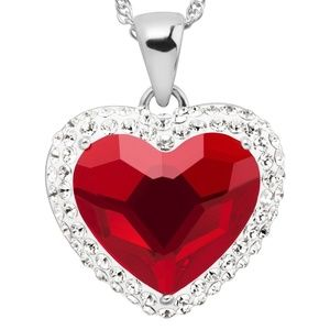 (NWT)  Red Heart Halo Pendant with Swarovski LoVE